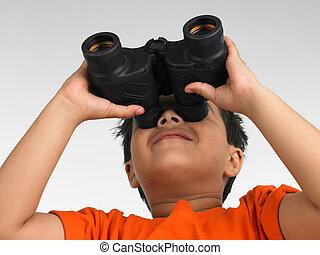 olhar, menino, binocular, através
