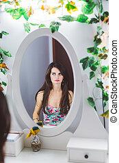 olhar, mulher, espelho