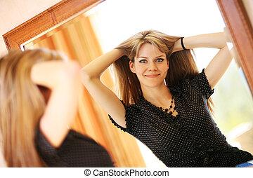 olhar, mulher jovem, bonito, espelho