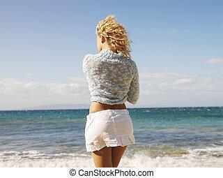 olhar, mulher, oceânicos