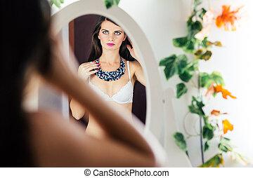 olhar, mulher, soutien, espelho