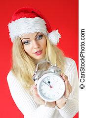 olhar, mulher, surpreendido, relógio