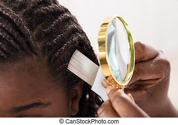 olhar, paciente, cabelo, dermatologista