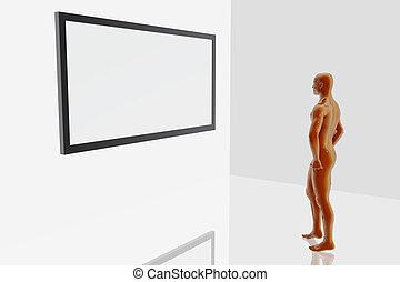 olhar, quadro, em branco, pessoa