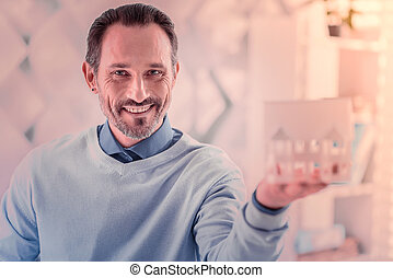 olhar, retrato, bonito, homem câmera
