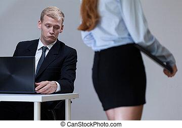 olhar, saliência, secretária