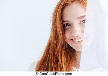 olhar, sorrindo, câmera, mulher
