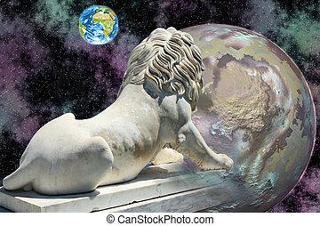 olhar, terra, leão, estátua
