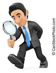 olhar vidro, através, homem negócios, magnificar, 3d