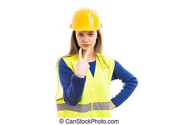 olhe, meu, olhos, conceito, com, jovem, femininas, engenheiro