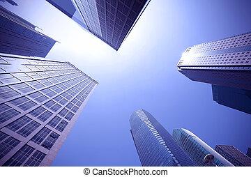 olhe para cima, modernos, urbano, edifícios escritório, em,...
