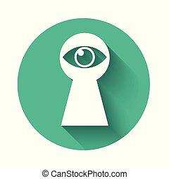 olho, ícone, shadow., isolado, longo, button., hole., vetorial, buraco fechadura, ilustração, verde, círculo, keyhole., branca, olha