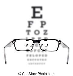 olho, através, teste vista, visto, óculos