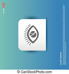 olho azul, adesivo, -, botão, ícone