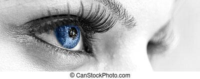 olho azul, -, bonito, feminina