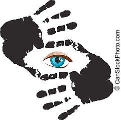 olho azul, frame., mão, olhando, tu