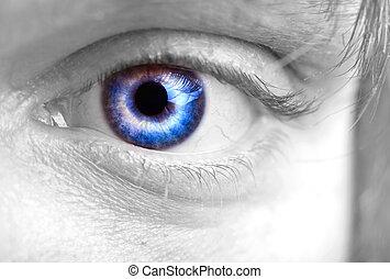 olho azul, homens, closeup