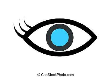 olho azul, isolado, ilustração, vetorial, white., icon.