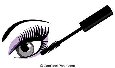 olho azul, mascara