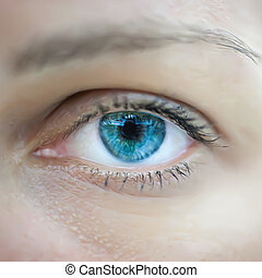 olho azul, mulher, macro., vetorial
