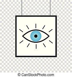 olho azul, quadro, isolado, vetorial, fundo, branca, ícone