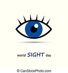olho azul, vista, mundo, dia, ícone