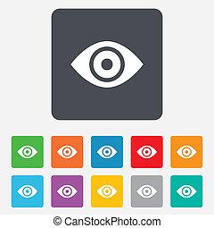 olho, button., publicar, sinal, conteúdo, icon.