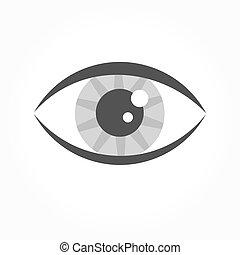 olho, cinzento, ícone