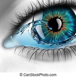 olho, com, água