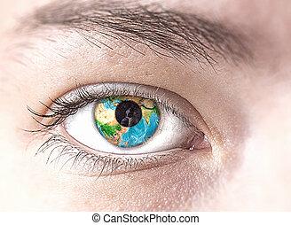 olho, com, terra, planeta