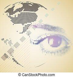 olho, composto, abstratos, halftone, experiência., human, tecnologia digital