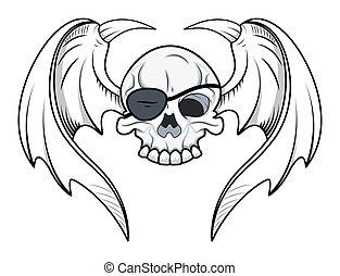 olho, cranio, voando, -, remendo, vetorial