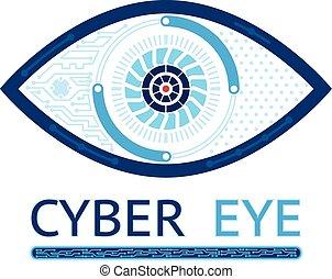 olho, cyber, ícone