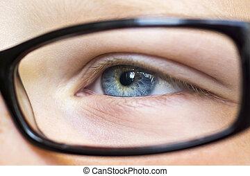 olho, em, óculos, cima
