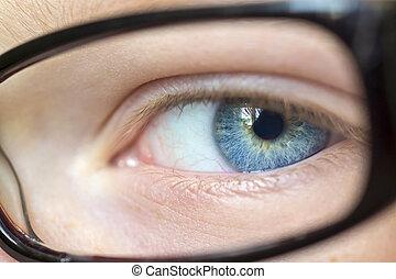 olho, em, óculos