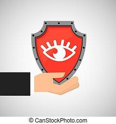 olho, escudo, dê proteção, segurando, dados