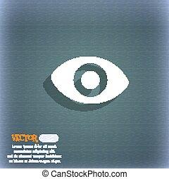 olho, espaço, sexto, símbolo, azul-verde, abstratos, vetorial, fundo, text., sombra, sentido, seu, ícone