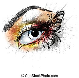 olho faz pazes, com, borboleta