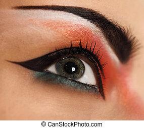 olho, fazer, cima., olhos bonitos, brilhar, compor