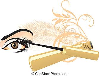 olho feminino, e, mascara
