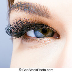 olho feminino, longo, supercílios