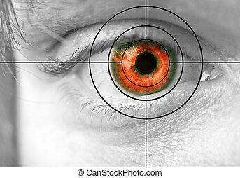 olho homens, vermelho