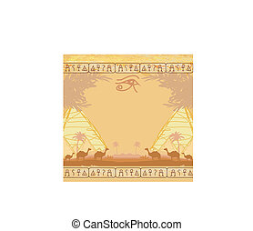 olho, horus, camelo, caravana, áfrica, tradicional, selvagem, paisagem