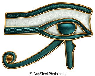 olho, horus, egípcio