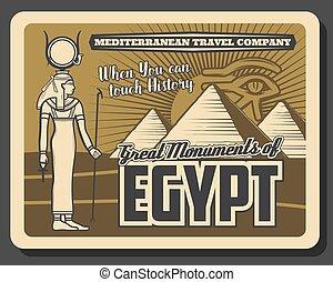 olho, horus, estátua, ra, egito, piramides