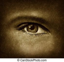 olho humano, com, grunge, textura