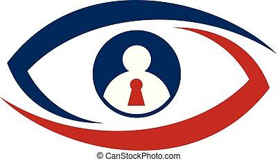 olho, identificação, escudo