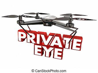 olho, investigador, ilustração, zangão, câmera, privado, vigilância, 3d