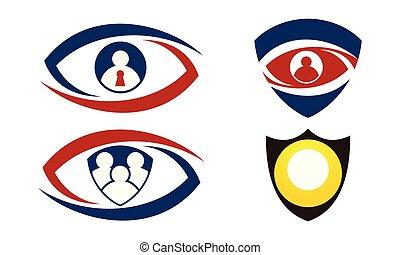 olho, jogo, identificação, escudo