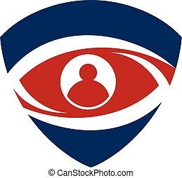olho, login, identificação, escudo